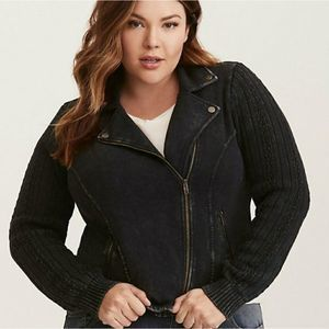 Torrid Sweater Sleeve Moto Zip Jacket